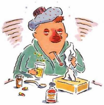 Хворий з застудою
