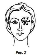 Масажуємо в точки області очей і брів